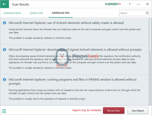 Отчет Kaspersky System Checker о проблемах ПК